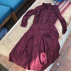 Vintage oxblood plaid button down midi dress